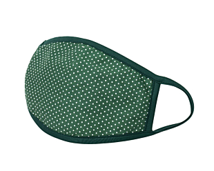 WHITE DOTS ON GREEN gesichtsmaske